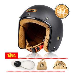 Nón bảo hiểm 3/4 Bulldog Perro 4U (tặng khóa bấm, túi xách, balo rút và tem)