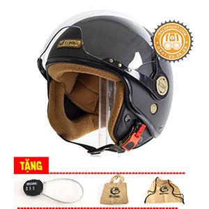 Nón bảo hiểm 3/4 Bulldog POM (tặng khóa số, túi vải, tem phản quang)