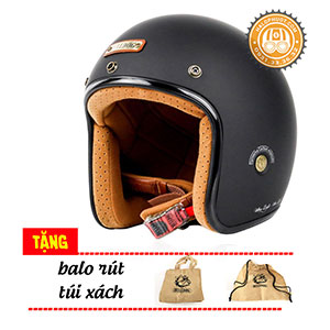 Mũ bảo hiểm 3/4 Bulldog Heli Filberglass (Sợi thủy tinh)